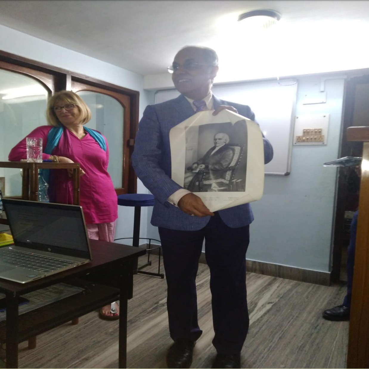 A meaningful gift given to the participants, Hahnemann's portrait for framing in their Clinic Room
