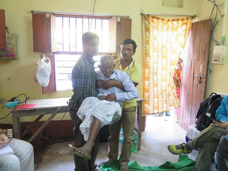 Patients carried by family to the rural clinic