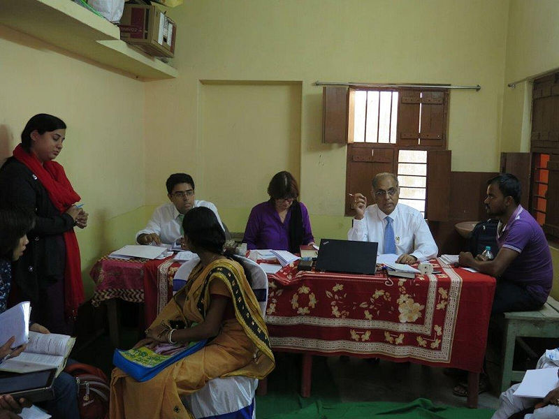 Subrata, Janet & Saptarshi in a very busy Rural Clinic with overseas participants - January 2017