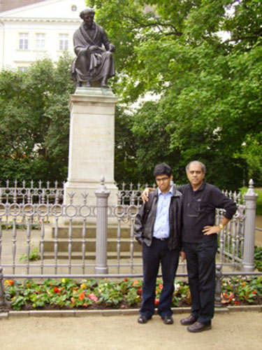 Subrata and Saptarshi in front of at Hahnemann's Monument at Leipsic