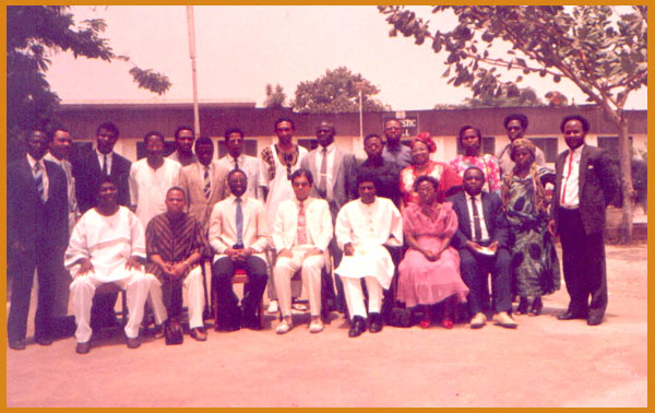 Dr. Banerjea with his students in Nigeria, Africa