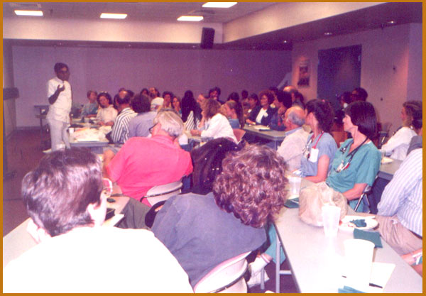 Dr. Banerjea lecturing at St. Vincent Hospital , Santa Fe, U.S.A., before allopathic M.D's who are i